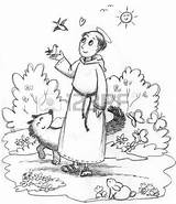 Monastery Coloring Designlooter Francis Saint Wild Animals Illustration sketch template