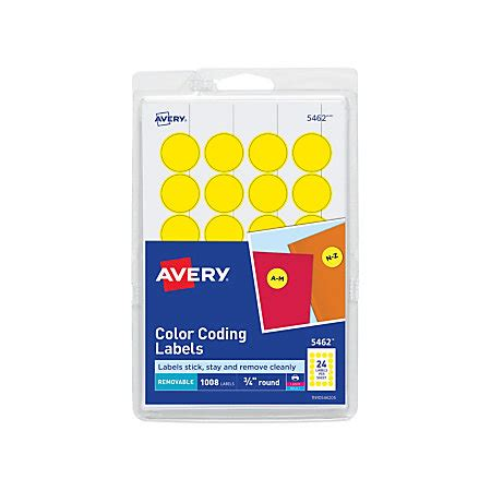 Avery Removable Round Color Coding Labels 34 Diameter