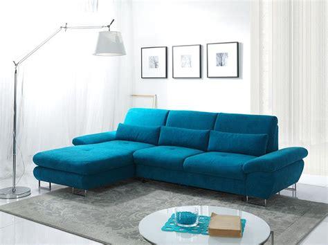 canapé tissu bleu canapé d 39 angle convertible en tissu bleu azur luciano