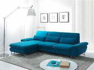 Canape d39angle convertible en tissu bleu azur luciano for Canapé convertible scandinave pour noël idée déco salon pas cher
