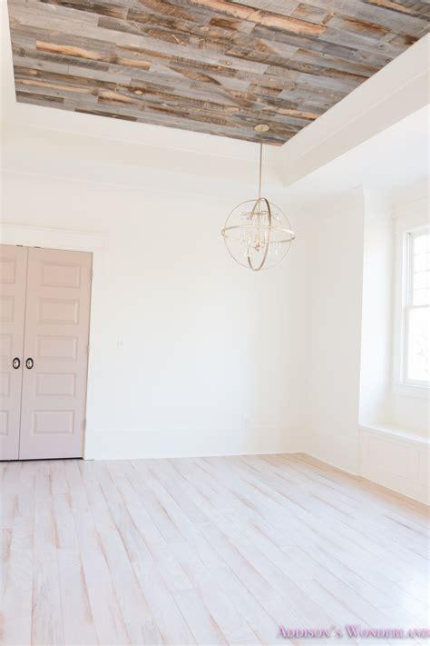 wood flooring on ceiling alabaster walls girls bedroom stikwood weathered wood ceiling shaw floors whitewashed hardwood
