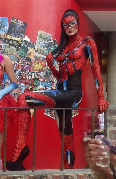 paint body painting spider bikini wearing cosplay put marvel paintings painted woman shame these spiderman barnorama spidergirl spiderwoman star shares