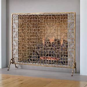 Gold, Fretwork, Fireplace, Screen