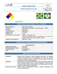 hipoclorito de calcio hoja de datos de seguridad de productos