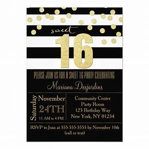 Sweet 16 Party Invitation Gold Black White