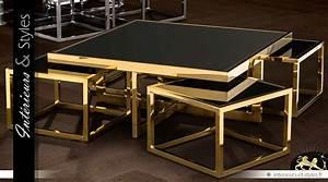 Ensemble De 5 Tables Basses Design Mtal Dor Et Verre