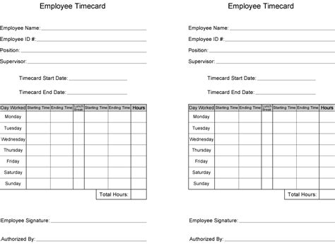 Time Card Template Free Time Card Template Printable Employee Time Card