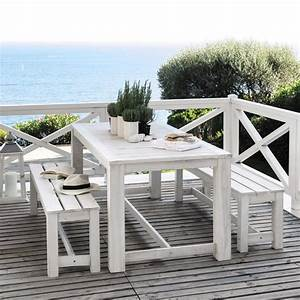 Table Jardin En Bois : table 2 bancs de jardin en bois blanc l 180 cm brehat maisons du monde ~ Dode.kayakingforconservation.com Idées de Décoration