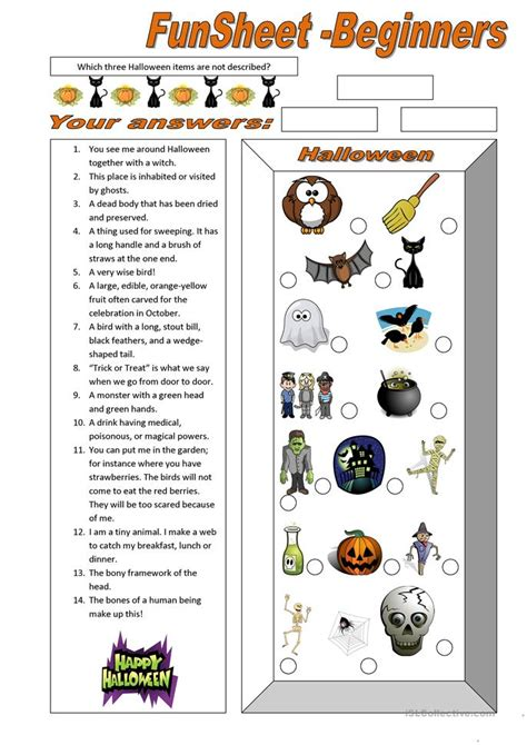 funsheet  beginners halloween worksheet  esl
