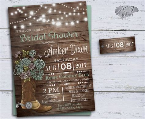 country bridal shower invitations cowboy boots wedding