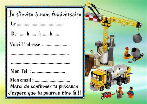 5 Cartes Invitation Anniversaire Lego Chantier 02 D'autres