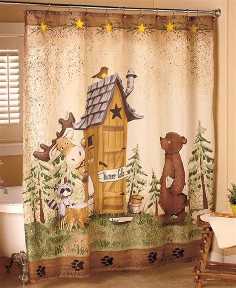 nature calls shower curtain comical moose outhouse