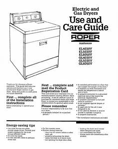 Download Roper Clothes Dryer El4030v Manual And User