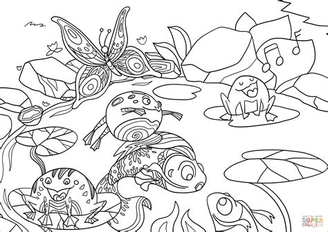 life   pond coloring page  printable coloring pages