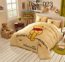 cartoon happy winnie the pooh full queen king size 100 cotton bedding sets bed in a bag sheet