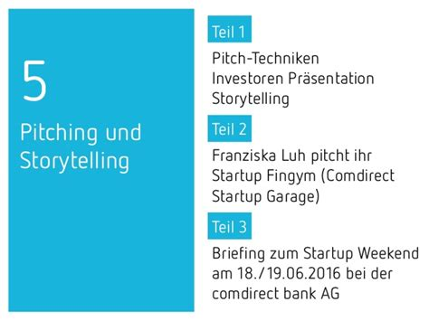 Comdirect Garage by The Lean Startup Pitching Techniken Und Storytelling