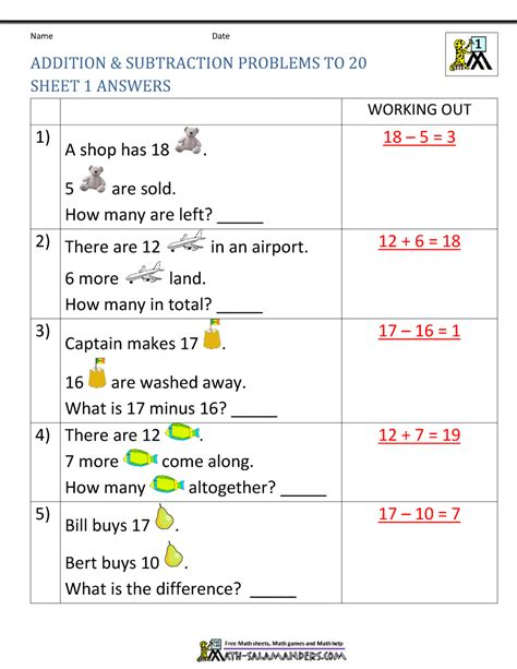 st grade addition  subtraction word problems