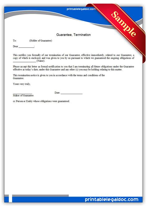 Free Printable Guarantee, Termination Form (GENERIC)