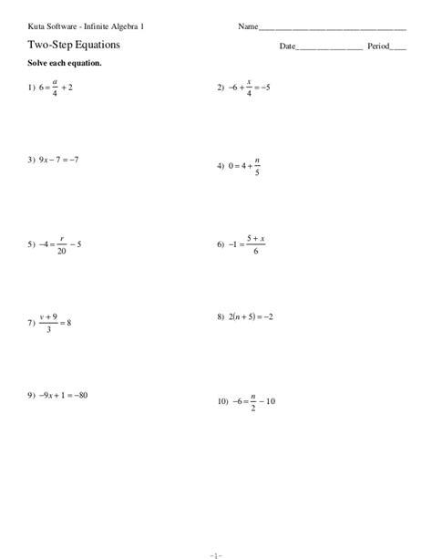 algebra 1 inequalities worksheet two step equations