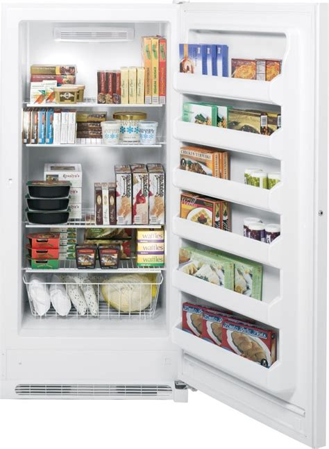 fufdhrww ge  cu ft frost  upright freezer white