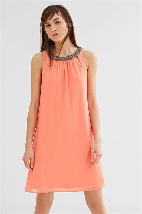 Esprit  ChiffonKleid mit dekoriertem Ausschnitt im