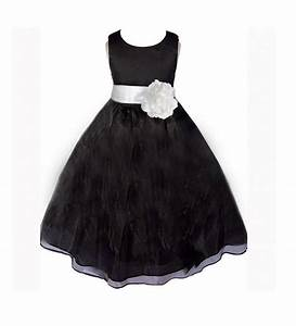 Black Flower Girl Dress Sash Pageant Organza Wedding ...