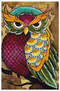 Colorful Owl by Brittany Morgan Pretty Bird on Branch ...