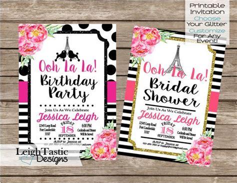 sale watercolor flower paris invite birthday invitation