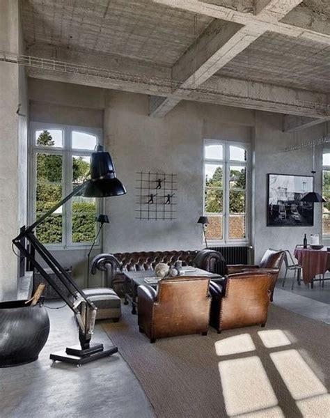 industrial look living room industriel salons and chesterfield on pinterest