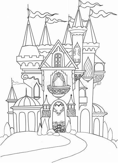 Coloring Fairy Palace Tale Drawings Istana Gambar