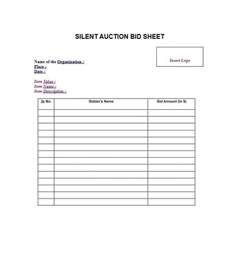 Auction Sheets Template Free Silent Auction Bid Sheet Templates Word Excel Template Section