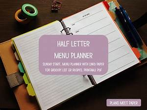 printable half letter weekly menu planner with lined paper for With half letter paper
