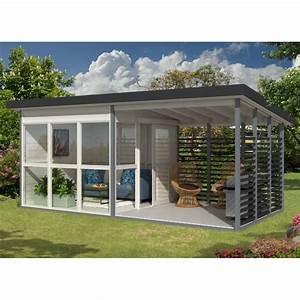 Abri de jardin contemporain 15,9m² panneaux 21mm EMMA + plancher