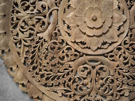 Buy Circle Carved Wooden Wall Art Buddhist Flower Panel Online Small Oak Coffee Table With Drawers Simple Designs Polycarbonate Conran Rustic Tables Reception Cabinet Sets Cheap