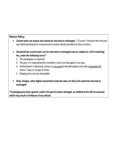 return policy sample free download