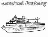 Cruise Ship Coloring Pages Carnival Fantasy Disney Netart Line Printable Print Lego Colonial Books sketch template