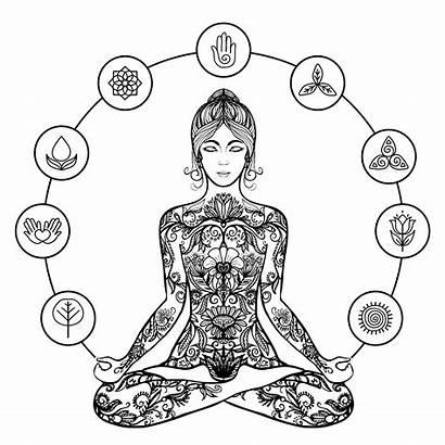 Yoga Meditation Lotus Woman Pose Vector Illustration