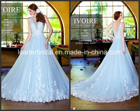China Sheer Ice Blue Bridal Gowns A-line Tulle Lace