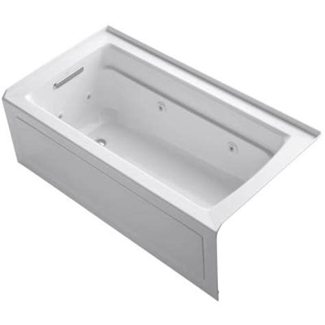 kohler archer 5 ft whirlpool tub in white k 1122 la 0