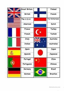 Flags Countries Nationalities, matching activity worksheet