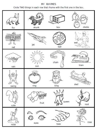 A Dozen Free Rhyming Words Worksheets From Printablekidstuffcom  Printable Preschool
