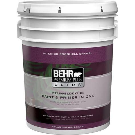 behr premium plus ultra 5 gal medium base eggshell enamel interior paint 275405 the home depot