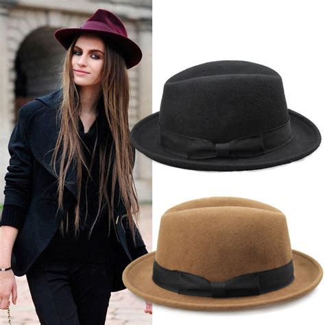 New Fashion Winter Autumn Women Wool Black Fedora Hat For