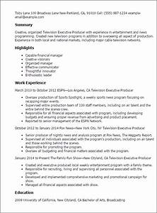 Production Manager Resume Sample Professional Television Executive Producer Templates To