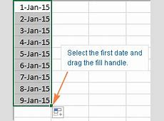 How to insert date in Excel auto fill dates, enter today