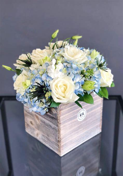 wood box arrangement blue white large