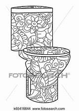 Flush Toilet Antistress Coloring Adult Astrakhan Doodle Lines Pattern Fotosearch Raster sketch template