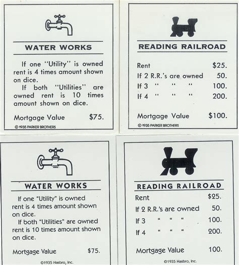 monopoly railroad deed cards coin collectors blog