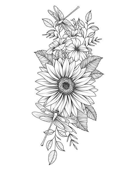 Không có mô tả ảnh.   Flower thigh tattoos, Sunflower tattoos, Black tattoos