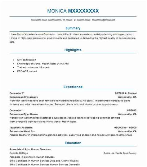 practicum student resume exle sigma counseling